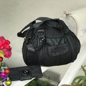 Diesel Quilted Black Hobo Shoulder Bag & Wallet